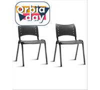 Conjunto Cadeira Iso Assento Encosto Preto Estrutura Preta 2 Unidades