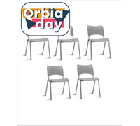 Conjunto Cadeira Iso Assento Encosto Cinza Estrutura Cinza 5 Unidades