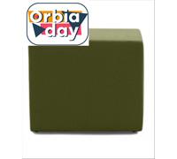 Puff Quadrado Revestido em Tecido Verde