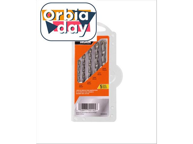 Jogo de Brocas para Concreto Black & Decker 5 Peças