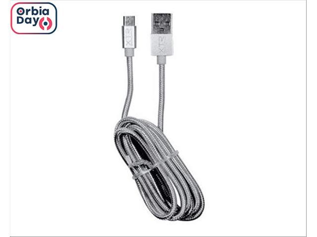 Cabo Micro USB Xtrax Prata 1,5 Metros